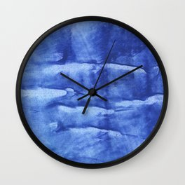 Corn flower blue abstract wash drawing painting Wall Clock