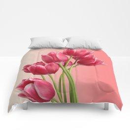 Beautiful Pink Tulips & Soft Background Comforters