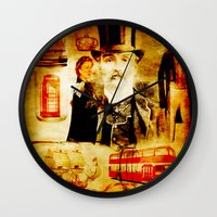 england Wall Clocks featuring England Vintage  by Joe Ganech