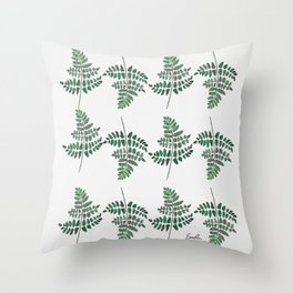 Fern Plant Watercolor Throw Pillow