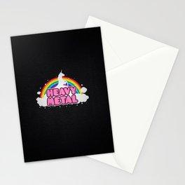 HEAVY METAL! (Funny Unicorn / Rainbow Mosh Parody Design) Stationery Cards