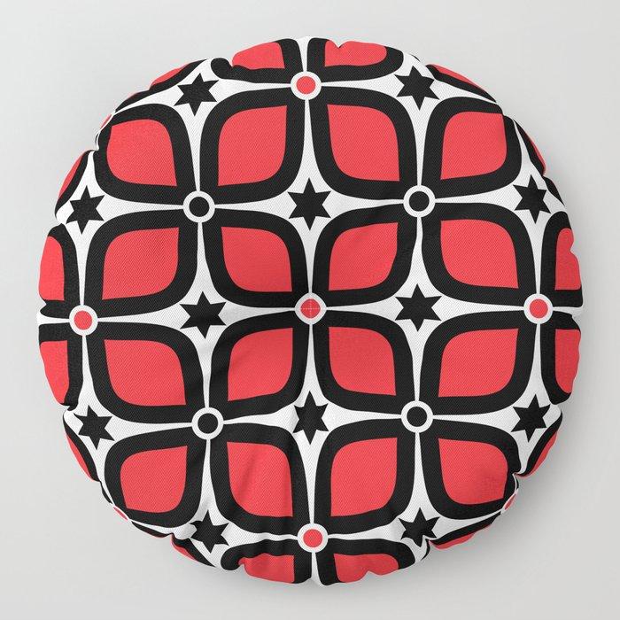 Mid Century Modern 4 Leaf Clover - Black, White, Red Floor Pillow