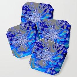 MODERN ROYAL BLUE WINTER SNOWFLAKES GREY ART Coaster