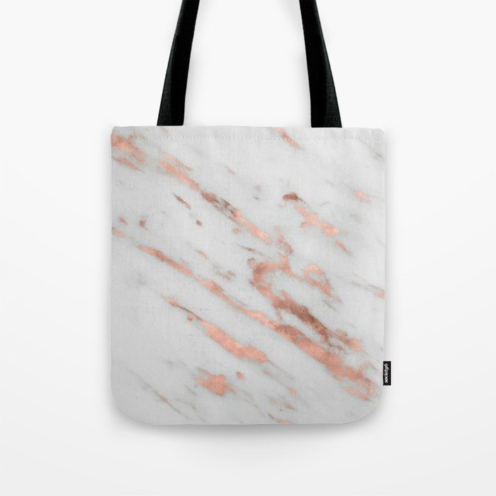 Marble - Rose Gold Marble with White Gold Foil Pattern Tote Bag
