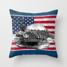 Nimitz Class Aircraft Carrier Throw Pillow