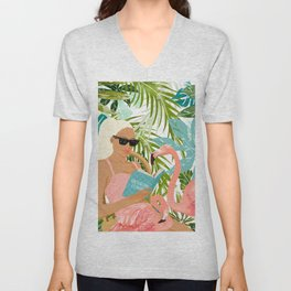 How To Become a Flamingo Illustration, Human Nature Connection, Woman Fashion Travel Unisex V-Neck