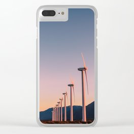 California Desert Windmills at Sunset with Mountain Vistas Clear iPhone Case