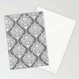 Grey Damask Stationery Cards
