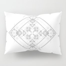 Black and white detailed sacred geometry symbol graphite Pillow Sham