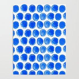Blue acrylic circles pattern Poster