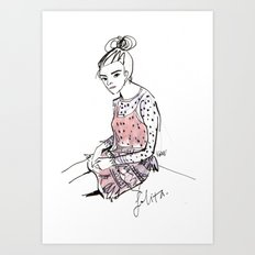 Lolita in a sheer pink polka dot dress  Art Print