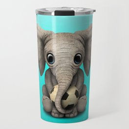 Cute Baby Elephant With Football Soccer Ball Travel Mug