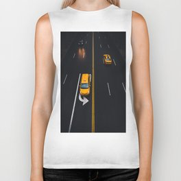 Taxi on the Street (Color) Biker Tank