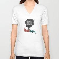 smoke V-neck T-shirts featuring Smoke! by Hector Mansilla