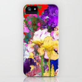 Yellow & Purple Spring Red Iris Garden iPhone Case