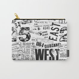 East West Grunge Distressed black white #urban typography Carry-All Pouch