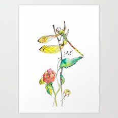 Dragonfly and Flowers Art Print
