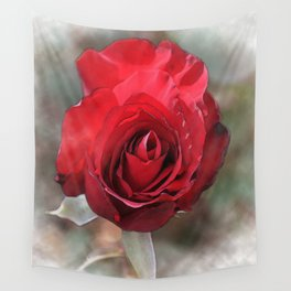 Red Rose Bloom In Watercolor Wall Tapestry