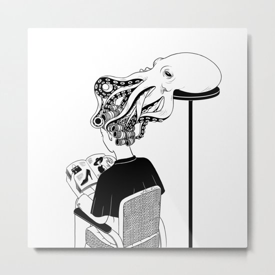 Octopus Salon Metal Print
