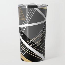 Original Gray and Gold Abstract Geometric Travel Mug
