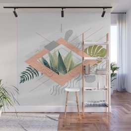 Abstract geometrical and botanical shapes I Wall Mural