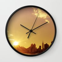 nyc Wall Clocks featuring NYC by Vivienne Gucwa
