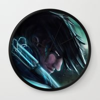 nightwing Wall Clocks featuring Nightwing by Nicole M Ales