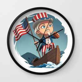 Uncle Sam Riding a Boat Wall Clock