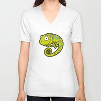 chameleon V-neck T-shirts featuring Chameleon by Martin Jonas