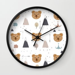 Seamless kids pattern with lovely cute bears and forest Wall Clock