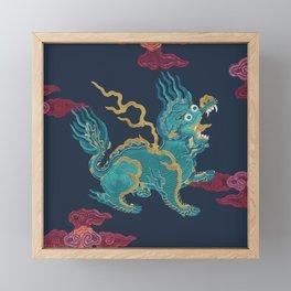 FOO DRAGON ON NAVY Framed Mini Art Print