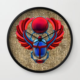 Colorful Egyptian Scarab Wall Clock
