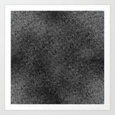 Geo Scribbles White on Black Art Print
