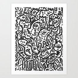 Graffiti Street Friends Black and White Doodle Art Print