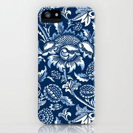 William Morris Sunflowers, Dark Blue and White iPhone Case