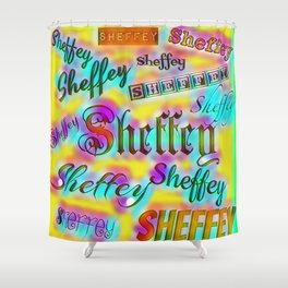 Sheffey Fonts - Yellow and Pink Rainbow 9642 Shower Curtain