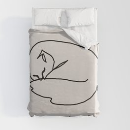 Wake me up in spring one line cat art Duvet Cover