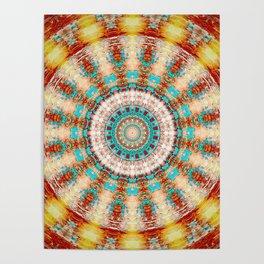 Southwestern Turquoise Orange Mandala Poster