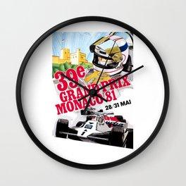 1981 Monaco Grand Prix Race Advertising Poster Wall Clock