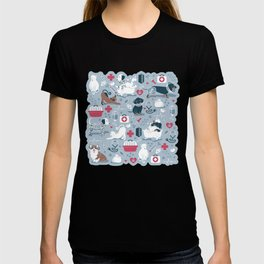 Veterinary medicine, happy and healthy friends // pastel blue background T-shirt