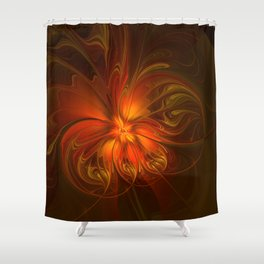 Burning, Abstract Fractal Art With Warmth Shower Curtain