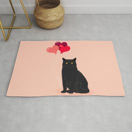 Black Cat Love balloons valentine gifts for cat lady cat people gifts ideas funny cat themed gifts Rug