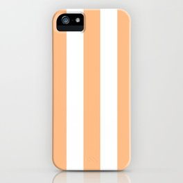Macaroni and Cheese pink - solid color - white vertical lines pattern iPhone Case
