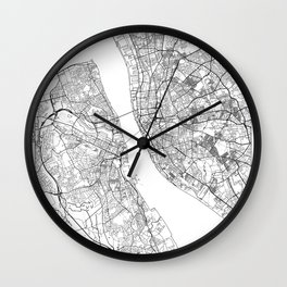 Liverpool Map White Wall Clock