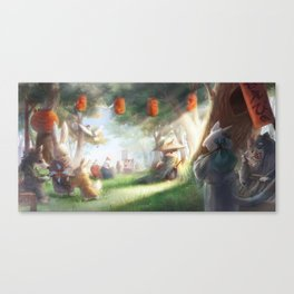 Samurai Shiba Inu strolling at the Forest Market Canvas Print