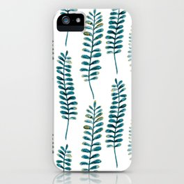Watercolour Fern Pattern | Teal and Gold iPhone Case