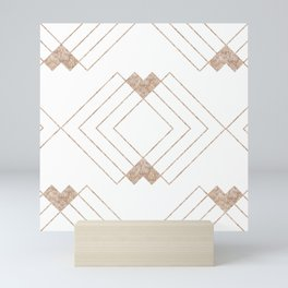 Geometrical rose gold abstract elegant triangles pattern Mini Art Print