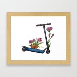 Push Scooter & Flowers Framed Art Print