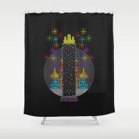 tetris Shower Curtains featuring Tetris Tower by PidoBear