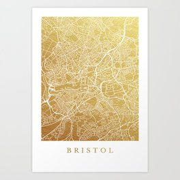 Gold Bristol map Art Print